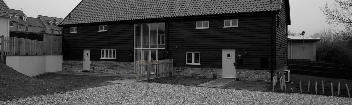 Sustainable Barn Conversion exterior black and white
