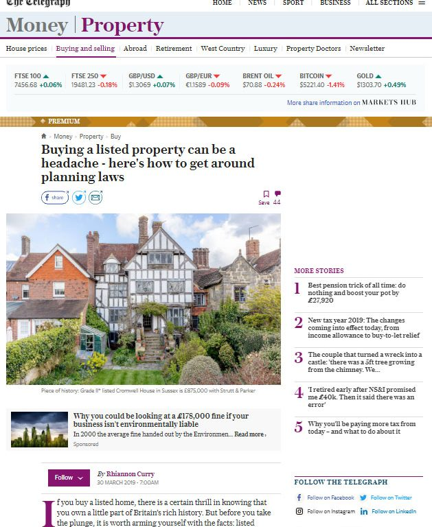 Telegraph - Buying a Listed Property article